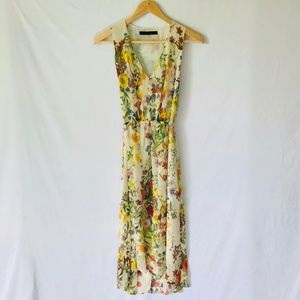 Zara Basic Floral V-Neck Dress